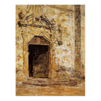 Tür der Touques Kirche durch Eugene Boudin Postkarte