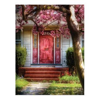Tür - Rosa Postkarte