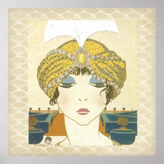 Turbaned Poiret 1900s Mode-Plakat