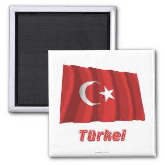 Türkei Fliegende Flagge MIT Namen Quadratischer Magnet