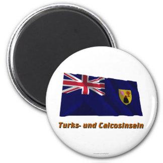 Türken und Caicosinseln Fliegende Flagge MIT Namen Runder Magnet 5,7 Cm