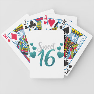 Türkis-16. Geburtstag-Herzen Bicycle Spielkarten