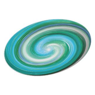 Türkis-abstraktes Strudel-Muster Teller