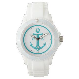 Türkis-Anker mit Seegeschenken der Initialen-  Armbanduhr