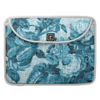 Türkis-Aqua Vintages BlumenToile No.5 Sleeve Für MacBook Pro