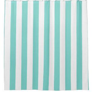 Türkis-Aqua-weißer vertikaler Streifen NL #1 Duschvorhang