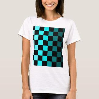 Türkis aquamarines Ombre Schachbrett-Schachbrett T-Shirt