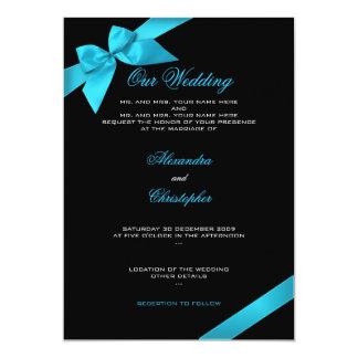 Türkis-Band-Hochzeits-Einladungs-Mitteilung 2 Karte