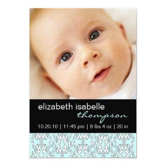 Türkis-barocke Baby-Mädchen-Foto-Mitteilung 12,7 X 17,8 Cm Einladungskarte