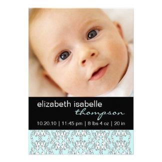 Türkis-barocke Baby-Mädchen-Foto-Mitteilung Individuelle Einladung