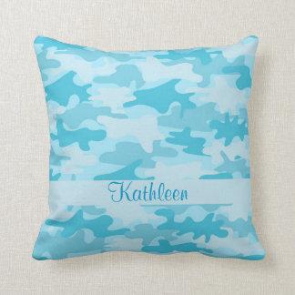 Türkis-Blau-Camouflage-Tarnungs-Name Kissen