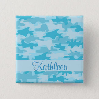 Türkis-Blau-Camouflage-Tarnungs-Name Quadratischer Button 5,1 Cm