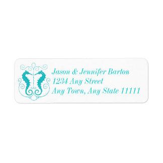 Türkis-Blau-elegante Adressen-Etiketten Seepferde