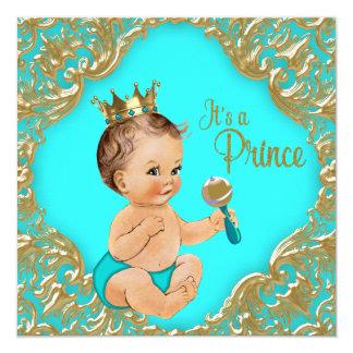Türkis-Blau-Goldprinz Babyparty Quadratische 13,3 Cm Einladungskarte
