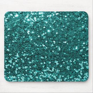 Türkis-Blau-Imitat-Glitter-aquamarines Aqua Mousepads