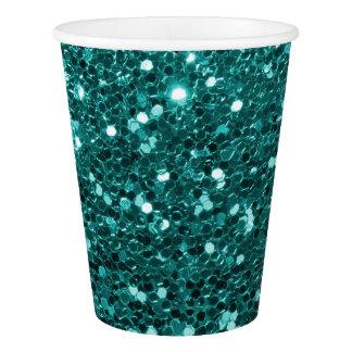 Türkis-Blau-Imitat-Glitter-aquamarines Aqua Pappbecher
