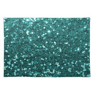 Türkis-Blau-Imitat-Glitter-Druck-Aqua aquamarin Stofftischset