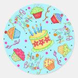 Türkis-Blau-kleine Kuchen und Kuchen-alles Gute Runder Sticker
