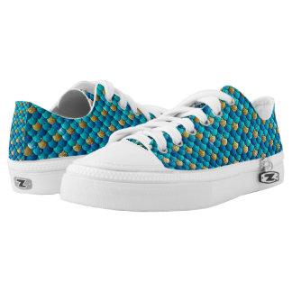 Türkis-Blau-Meerjungfrau-Skala-Schuhe Niedrig-geschnittene Sneaker