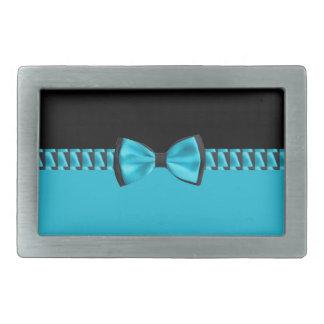 Türkis-Blau u. schwarze noble Bogen-Krawatte u. Rechteckige Gürtelschnalle