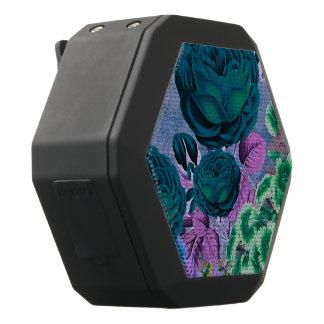 Türkis-Blau-Vintager Rosen-Garten Schwarze Bluetooth Lautsprecher