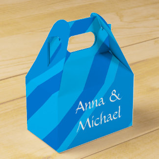 Türkis-blaue Streifen-Anlass-Bevorzugungs-Kasten Geschenkschachtel