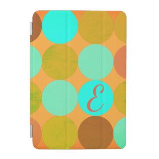 Türkis-blaues Grün u. Orangen-Kreis-Monogramm iPad Mini Hülle