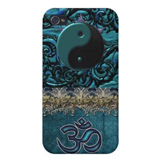 Türkis-Brokat mit Symbolen und metallischer iPhone 4/4S Hüllen