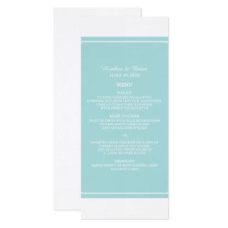Türkis-einfach elegantes Hochzeits-Menü 10,2 X 23,5 Cm Einladungskarte