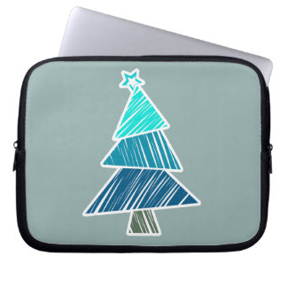 Türkis-flüchtige Weihnachtsbaum-Hülse Laptop Sleeve