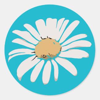 Türkis-Gänseblümchen-Blumenaufkleber Runder Aufkleber