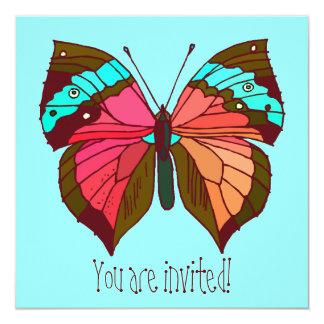 Türkis-gestreifte Schmetterlings-Einladung Quadratische 13,3 Cm Einladungskarte