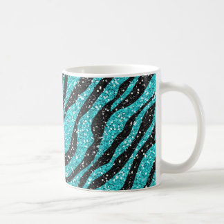 Türkis-Glitterzebra-Druck Kaffeetasse