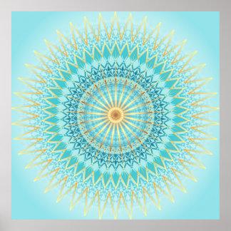 Türkis-GoldBoho Mandala Poster