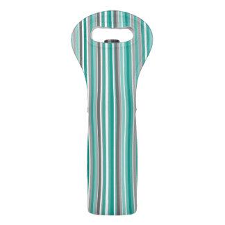 Türkis-graues Schatten-Streifen-Muster Weintasche