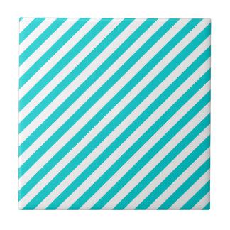Türkis-grüne Normallack-u. Weiß-Streifen Keramikfliese