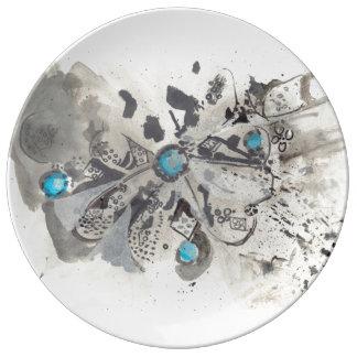 TÜRKIS I - Tinte, die mit blauer Platte zeichnet Teller