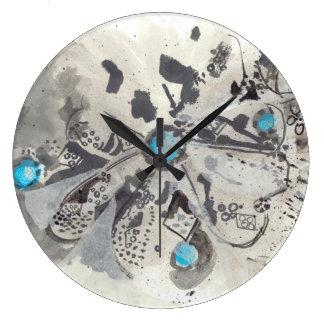 TÜRKIS I - Tinten-abstrakte Kunst-Uhr mit Blau Große Wanduhr