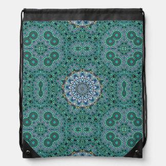 Türkis-kaleidoskopischer Mosaik-Reflexions-Entwurf Turnbeutel