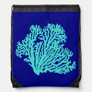 Türkis-Koralle auf Marine-Blau Sportbeutel