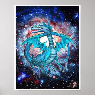 Türkis-kosmisches Drache-Plakat Poster