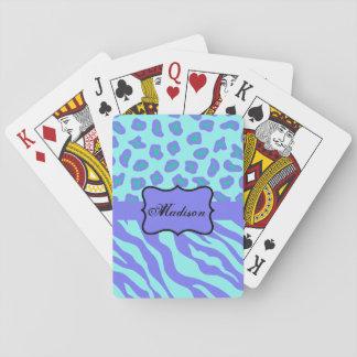 Türkis-Lavendelzebra-Leopard-Haut-Namen-Gewohnheit Pokerkarten
