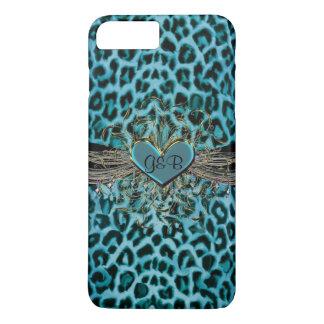 Türkis-Leopard und Herz-Monogramm iPhone 7 Fall iPhone 8 Plus/7 Plus Hülle