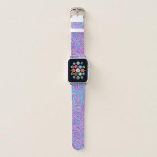 Türkis-lila abstraktes flüssiges Kunst-Muster Apple Watch Armband