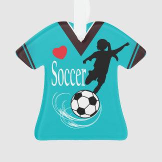 Türkis-Mädchen-Fußball-Ball-Shirt Ornament