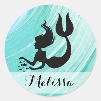 Türkis-Meerjungfrau-Silhouette-Namen-Aufkleber Runder Aufkleber