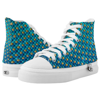 Türkis-Meerjungfrau-Skala-Schuhe Hoch-geschnittene Sneaker
