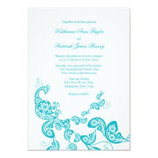 Türkis-Paisley-Pfau-schicke Hochzeit laden ein Karte