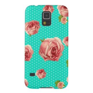 Türkis-Punkt mit Blumen Galaxy S5 Hülle