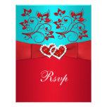Türkis, rotes Blumen, Herzen, die Antwort-Karte Individuelle Einladung